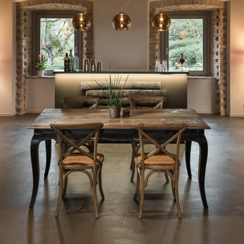 tavolo da pranzo nero stile shabby chic - gusto provenzale ...