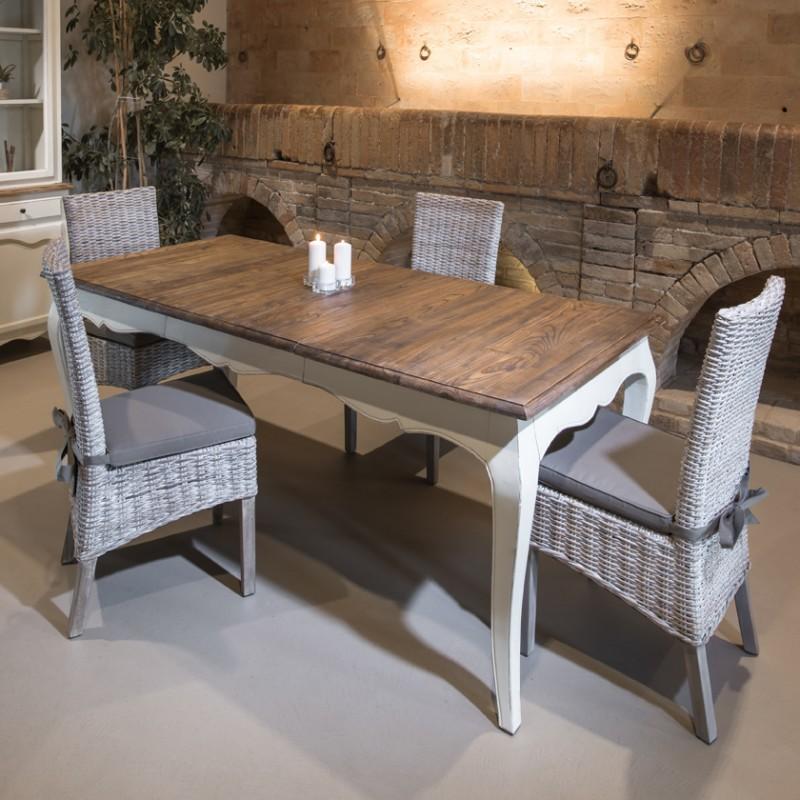 Tavolo da pranzo allungabile bianco shabby