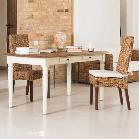 Tavolo scrittoio bianco shabby provenzale