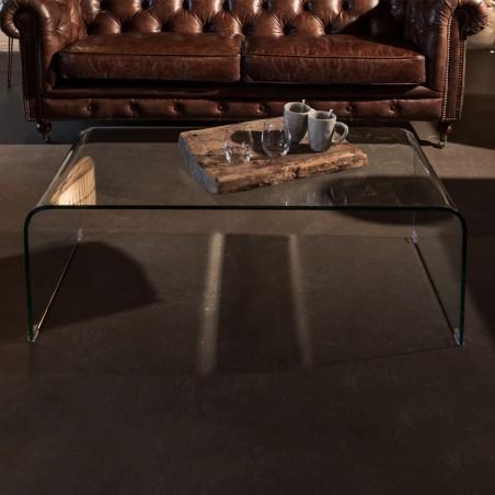 Tavolino design cristallo curvato