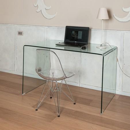 Tavolo scrivania 125 x 70 in vetro temperato