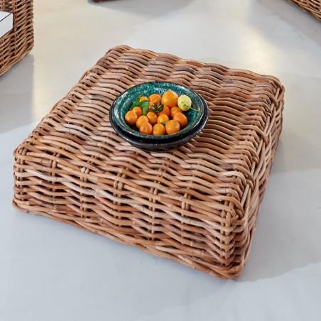 Tavolino-Pouff Savana in rattan rustico naturale