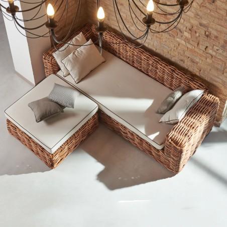 Divano-letto con penisola in rattan naturale rustico