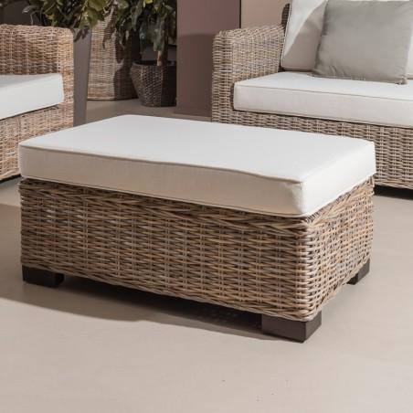 Tavolino-Pouff Cay in rattan Kubù naturale