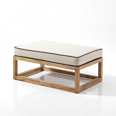 Tavolino pouff in teak - per set modulare componibile