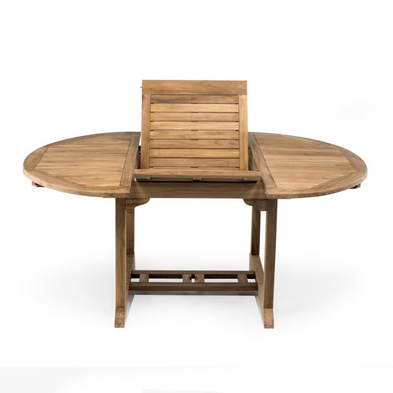Tavolo rotondo allungabile in teak per esterno