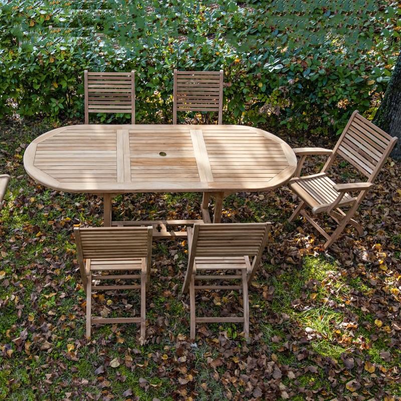 Tavolo teak ovale allungabile per esterno Dimensione 90 x ...