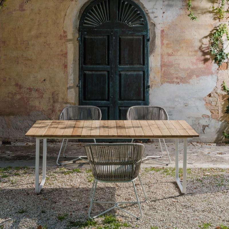 Tavoli Da Esterno Design.Tavolo Per Esterno In Teak Riciclato E Metallo Design Italiano Dimensione 100 X 190