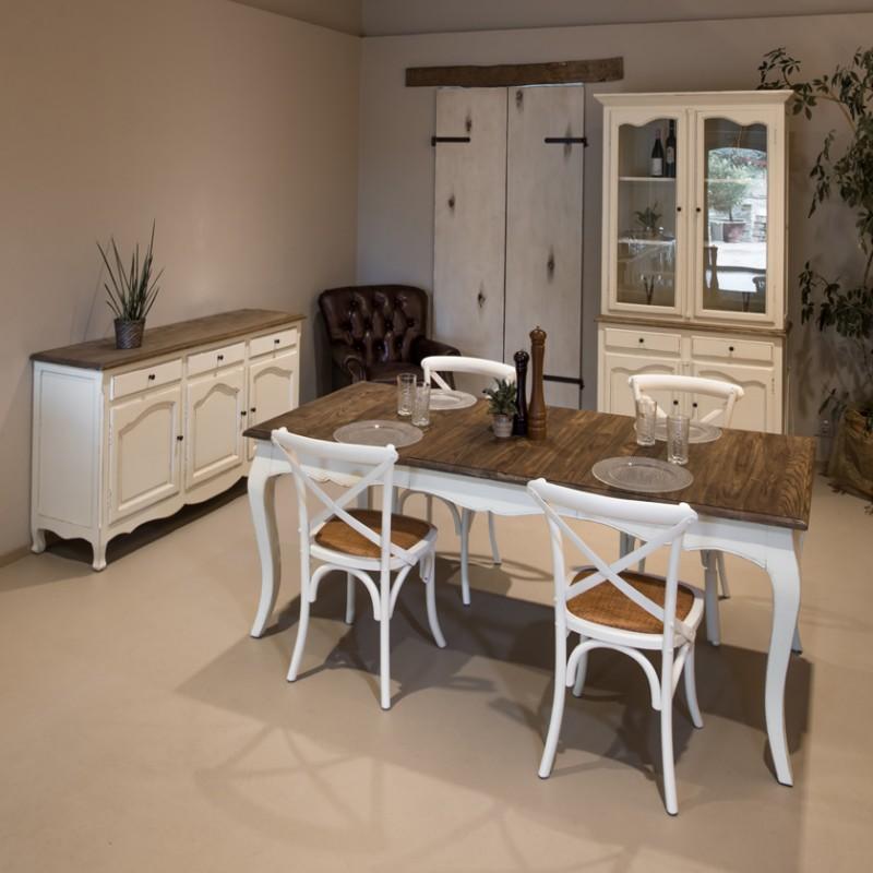 Sedia Country Stile Vintage In Abete Bianco Anticato