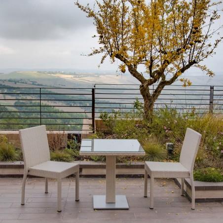 Set Bar - Tavolo quadrato e Sedia Linear per esterno